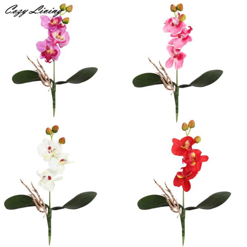 real touch flowers valentines day  pc triple head artificial butterfly orchid silk flower home wedding: day orchid decor