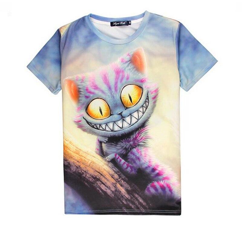 New Design Hot Selling 3d Print T Shirt Funny Cat Pattern