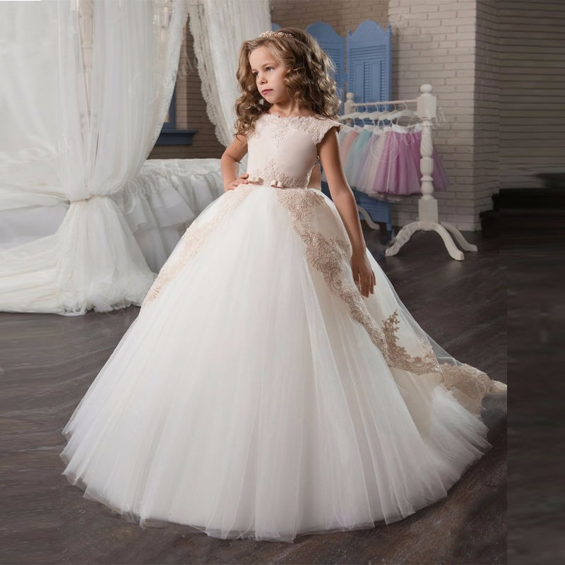 Hot Sale Gold Lace Appliques   Flower     Girl     Dresses   Ball Gown With Bow Kids Evening Gown First Communion   Dresses   For   Girls