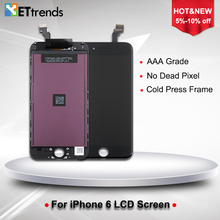 10PCS/LOT NO Dead pixel LCD Display For iPhone 6 LCD Screen Touch Digitizer Screen with Cold Press Frame Assembly DHL Free Ship