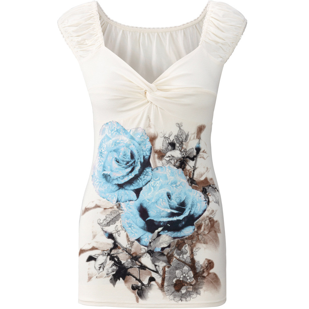 Free Ostrich Women T Shirt Summer Floral Print sleeveless top women Vest Shirt Tank Tops T-shirt camisole white top C2935