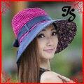 Envío gratis adulto verano sun sombrero de paja con arco ala ancha mujeres niñas protector solar sombrero flojo de la playa