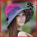 Free Shipping adult summer sun straw hat with bow wide brim women girls sunscreen floppy beach hat
