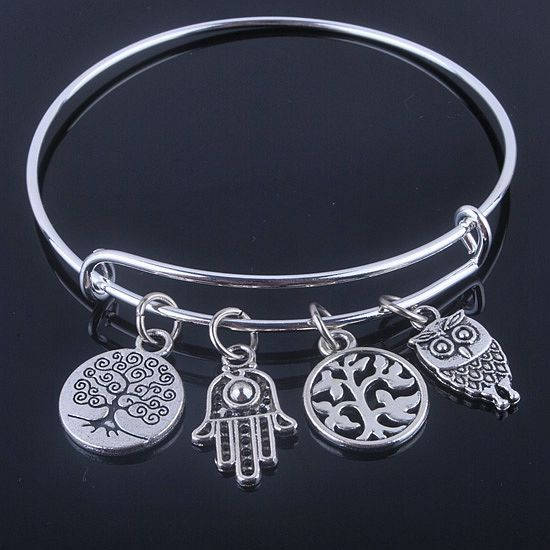 Adjustable Wire Silver Plated Bracelets with Anchor & Life Tree Charms