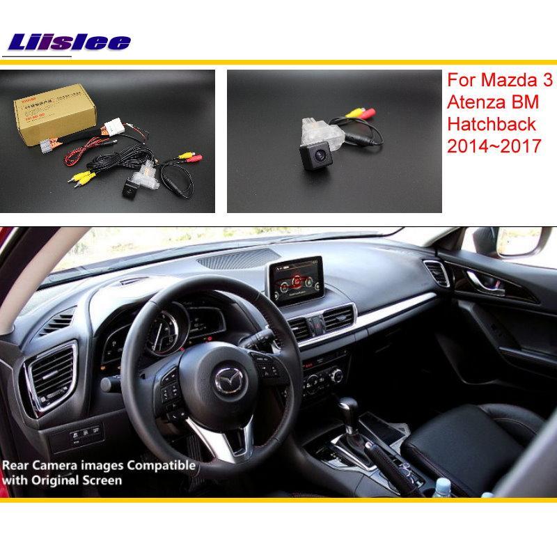 Liislee For Mazda 3 Mazda3 BM Hatchback 2014 2017 RCA Original Screen Compatible Rear View Camera