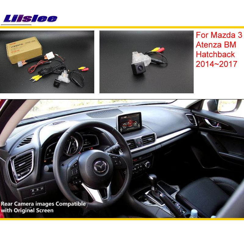 Liislee Untuk Mazda 3 Mazda3 BM Hatchback 2014 ~ 2017 RCA & Skrin Asal Serasi Rear View Camera / Back Reverse Camera Set