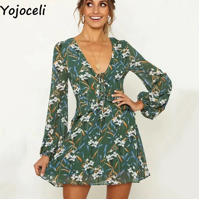87eab590dfe0 Yojoceli Bow lace up floral print chiffon dress women Autumn short beach  dress Casual daily elegant dress female vestidos