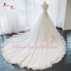 Image 2 - Jark Tozr nowa specjalna Trouwjurken z krótkim rękawem aplikacje koronkowe szorty ślubne dla nowożeńców sukienka De Mariage sklep internetowy chiny