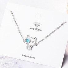 KOFSAC Latest 925 Sterling Silver Bracelets For Women Jewelry Cute Cartoon Kitten Crystal Blue Eye Bracelet Girl Engagement Gift