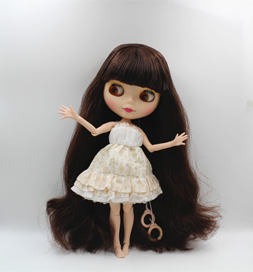 Blygirl Blyth doll Brown bangs can be closed eyes frosted face shell nude doll 30cm multi-joint body DIY doll can change makeup