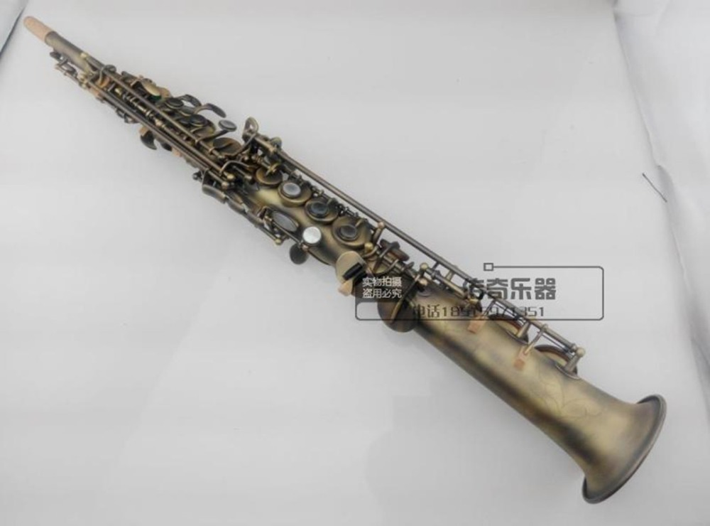France Selmer Straight Soprano B Saxophone Henry Reference 54 Antique Copper Simulation Soprano Sax Straight Instrument france henri selmer bb tenor saxophone instruments reference 36 drop b saxophone surface gold lacquer pink body professional sax