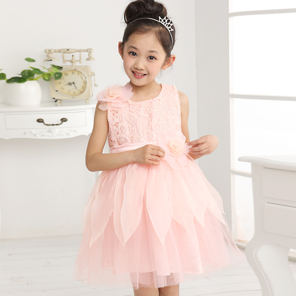2017 S New Summer Dress Flowers Chiffon Princess Dresses Kids Clothing Children Day Outfit Wedding Party