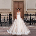 Vintage Lace Wedding Dress A Line 2017 Backless Appliques Lace Floor-Length Tulle Vestido De Noiva Robe De Mariage Wedding Gowns