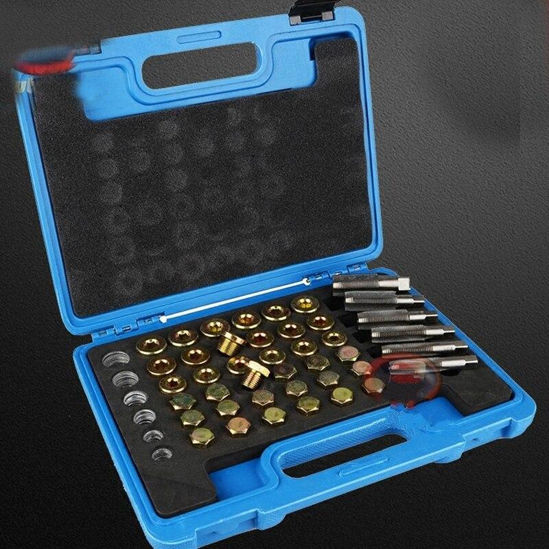 Mr Cartool 114 pièces Kit d'outils de réparation de filetage de carter d'huile bouchon de vidange bouchon de vidange de carter d'huile outil clé