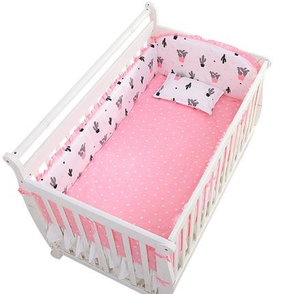 Promotion! 6PCS New Arrive Crib Bedding Set Crib Bumper Baby Bedding Set 100% Cotton (4bumpers+sheet+pillow Cover)