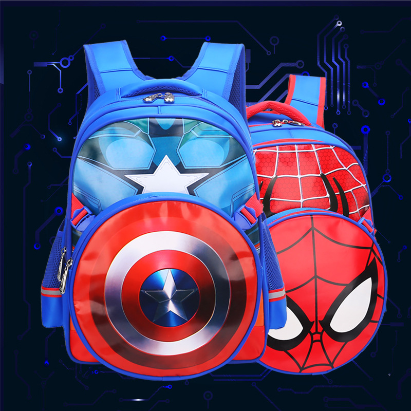 Spider-man Children Backpack Captain America Boy Spinal -- The 1-3-6 Grade, A Primary School Pupil's School Bag Backpack