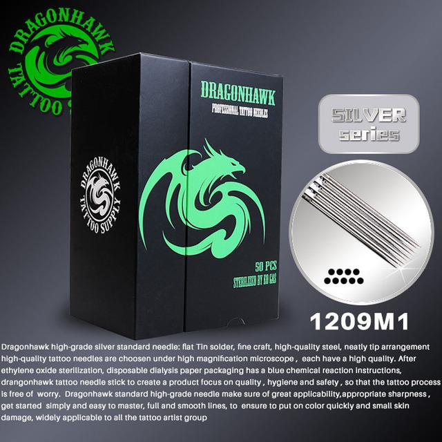 50 unids 1209m1 teje magnum desechables agujas de tatuaje dragonhawk de plata de alto grado estándar agujas tattoo supply