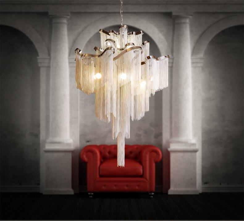 ZYY mode moderne personnalité créative projet lustre en aluminium chaîne hôtel villa sera composé escalier gland grand ch