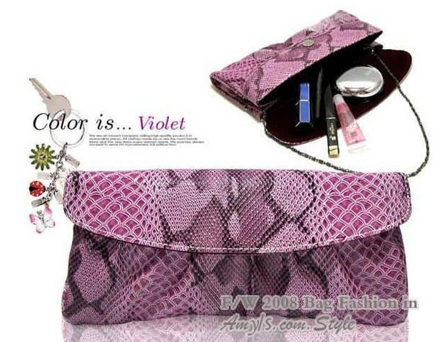 Hot Snake Skin Clutch bags Fashion women's Evening Bag Purse Leather Shoulder bag with Colorful Free shipping