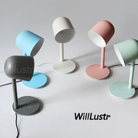 Willlustr new iron reading light bedside table lamp study room desk lighting office hotel Macaron color pink white green blue