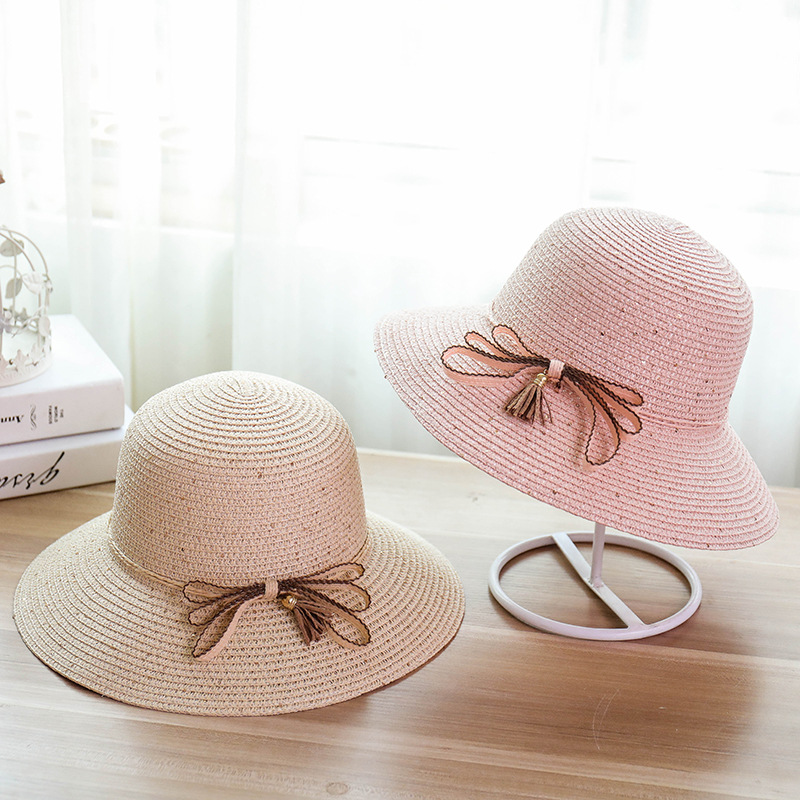 New Color String Ribbon Hat Bow Female Paillette Straw Hats Summer Seaside Resort Foldab ...