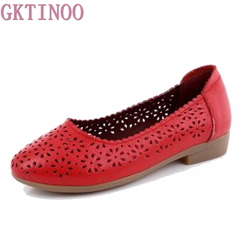 GKTINOO 2018 Summer women flats shoes genuine leather shoes woman cutout loafers slip on Breathable ballet flat ballerina flats lemai 2018 spring women flats shoes women genuine leather shoes woman cutout loafers slip on ballet flats boat shoes 3591
