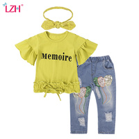 LZH Children Clothing 2018 Spring Autumn Baby Girls Clothes T Shirt Jeans Scarf 3pcs Kids Sport