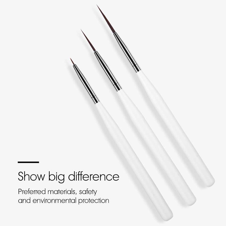 ROHWXY المهنية مسمار فرشاة فنية مجموعة خط الرسم اللوحة القلم UV هلام البولندية لتصاميم الاكريليك مانيكير فرشاة ل التدرج