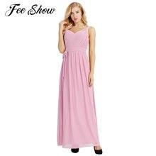 Feeshow Women Ladies Sleeveless Party Maxi Dress Pleated V Neck Chiffon  Elegant Bridesmaid Long Dress A 7ddea8c0fb46