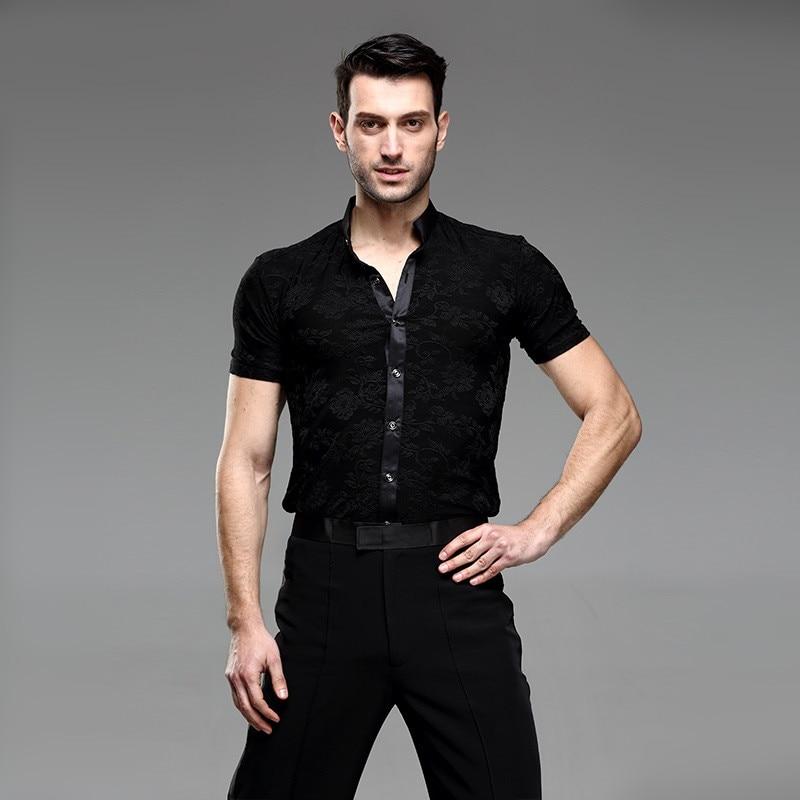 Picture of Black Ballroom Latin Shirt Latin Dance Shirts Men Dance Top Mens Ballroom Dancewear Men Ballroom Clothes Dance Costumes