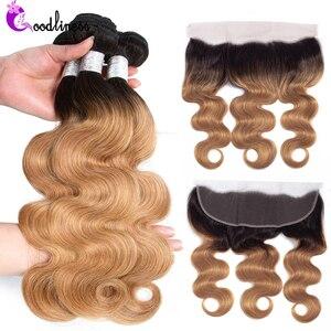 Пучки волос Goodliness Honey блонд с фронтальной связкой 1B/27 Remy, бразильские волнистые волосы, 100% натуральные волосы, пучки с фронтальной прядью