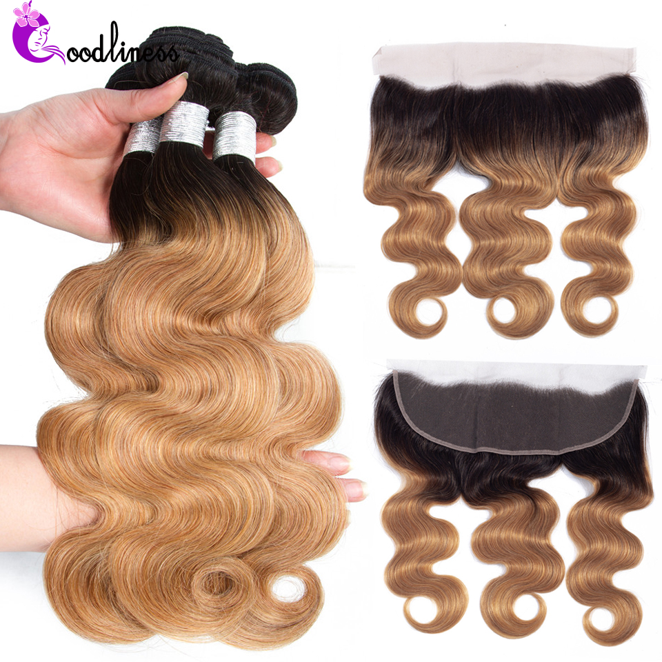 Goodliness Honey Blonde Bundles With Frontal 1B/27 Remy Brazilian Hair Weave Body Wave 100%Human Hair Ombre Bundles With Frontal