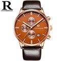 TOP Brand ONTHEEDGE Relojes para hombres Reloj de pulsera de Cuarzo Venta Caliente Grande Del Dial de Zafiro Espejo Banda de Cuero Reloj relojes masculino