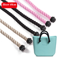 1 pair Black Natural Short  Women's bags Hemp Rope Handles Strap for O bag AMbag Shoulder bag handbag taping obag  40cm