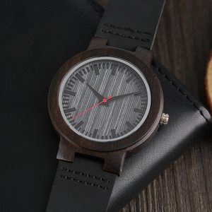 Image 5 - Watches Ebony Wooden Watch Mens Vintage Quartz Hand made Wood Clock with Genuine Leather Strap Wristwatch Gift Reloj de madera