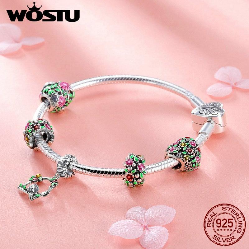 WOSTU Top Sale 925 Sterling Silver Spring Flowers Leaves Bird Charm Bracelet For Women Fashion Brand