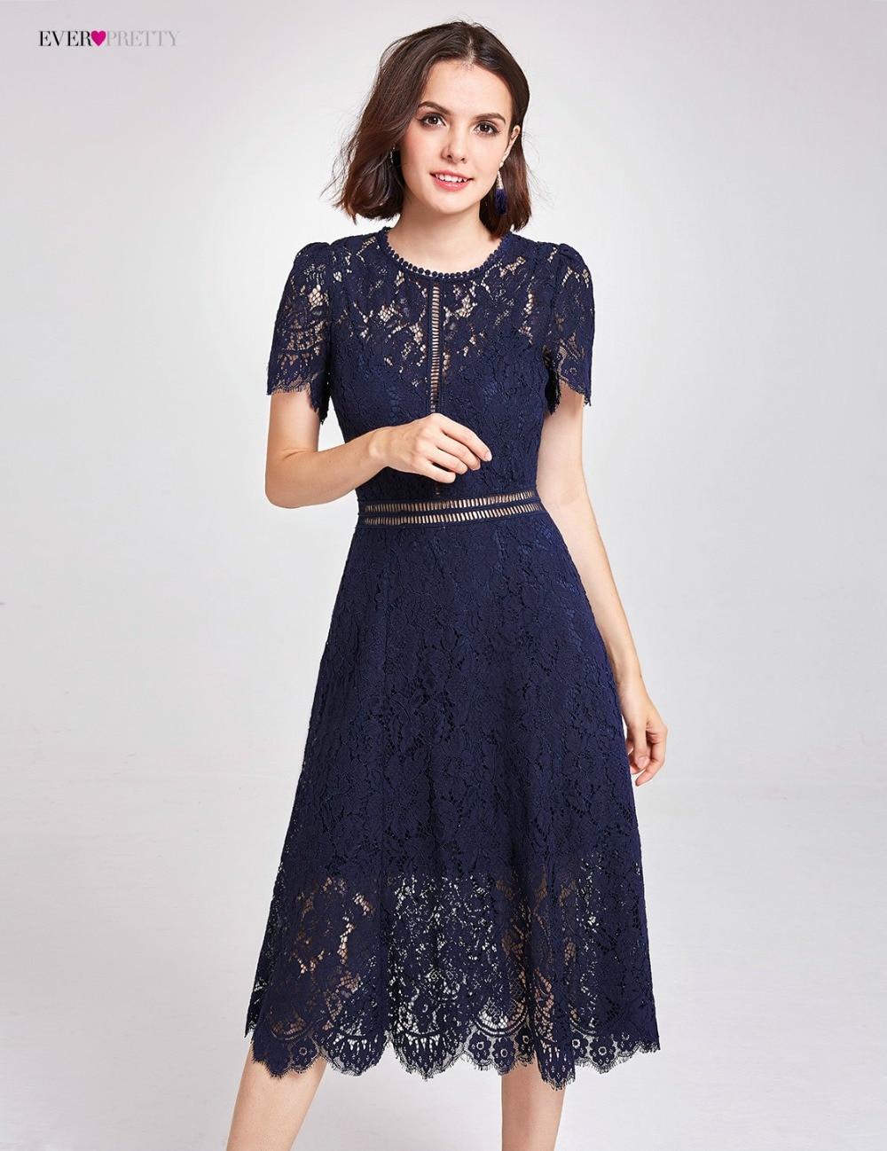 Новое Поступление Коктейльные платья Ever Pretty AS05921NB женские Дешевые трапециевидные кружевные платья с коротким рукавом и вырезами размера плюс Скромные Вечерние платья