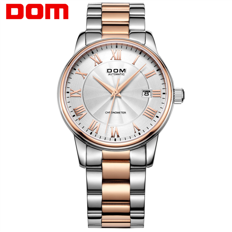 Men Watch DOM Luxury Waterproof Mechanical Watches Stainless Steel Sapphire Crystal Automatic Date Reloj Hombre M8040G7M2 ultra luxury 2 3 5 modes german motor watch winder white color wooden black pu leater inside automatic watch winder