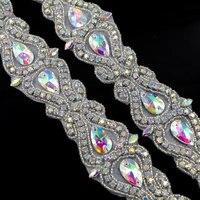 1 Yard Naaien Kralen Hot Fix Zilveren Applique AB Rhinestone Trim Voor Trouwjurken Bridal Garters Sash Riemen Gratis Verzending