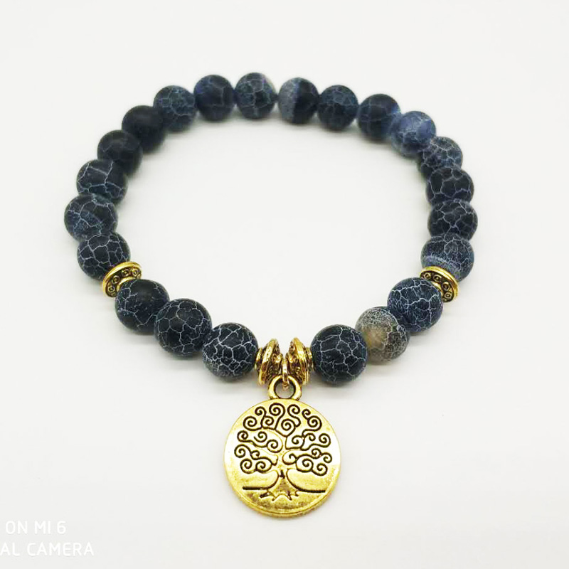 YUZHEJIE New Arrival Life of tree charm Natural Stone Bracelet Men and women Wrist Mala Beads Jewelry Solar Plexus Bracelet ...