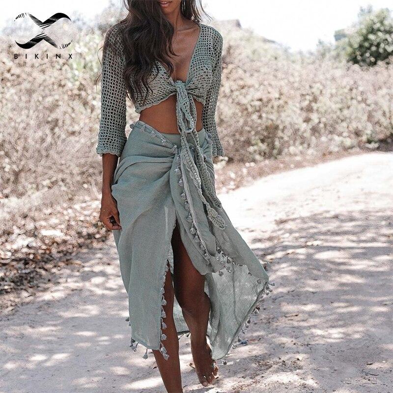 Bikinx Tassel Sarong Cover-ups Summer Beach Dress Sexy Bikinis 2019 Mujer Kaftan Cardigan Women Swimwear Gossamer Swimsuit Pareo