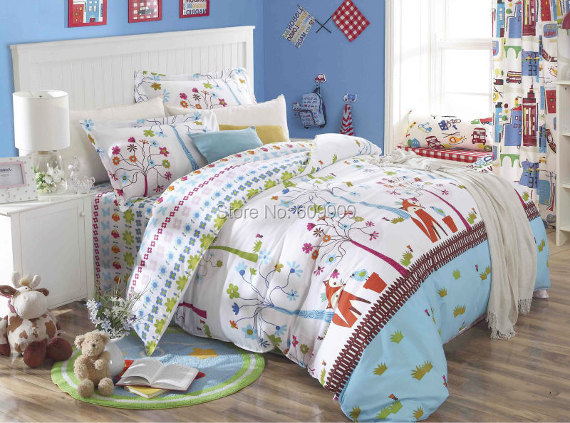Fox Birds Woodland Bedding Girls Kids 5 Pieces Bed Set 100% Cotton Standard  US Size Twin/Full/Queen Duvet Cover Set In Bedding Sets From Home U0026 Garden  On ...