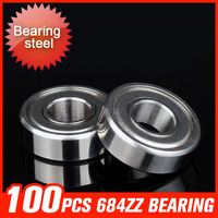 100pcs 684ZZ Bearing 9x4x4mm Metal Seal Cover Bearings For Construction Machinery Industry Hardware Tool Accessories