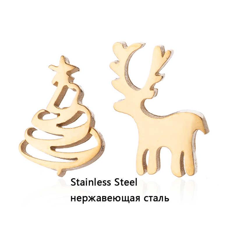 Yiustar สัตว์น่ารักต่างหู Tiny Deer Stud ต่างหู Charms สแตนเลสผู้หญิงหู Studs เครื่องประดับคริสต์มาสปีใหม่ของขวัญเด็ก