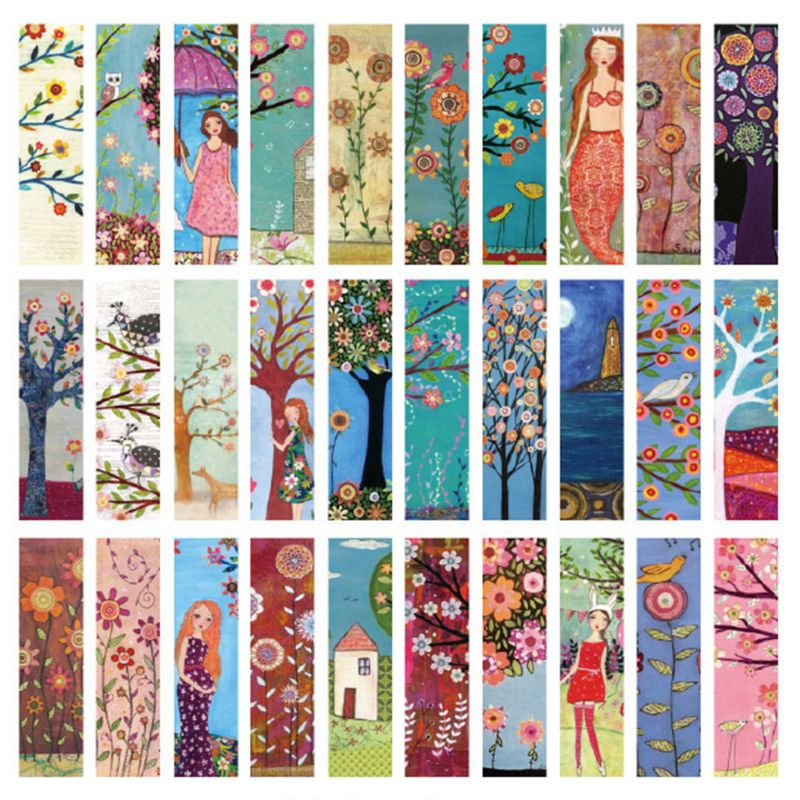 Executive College Stationery Note Cards: 30pcs Birds Bookmarks Paper Page Notes Label Message Card