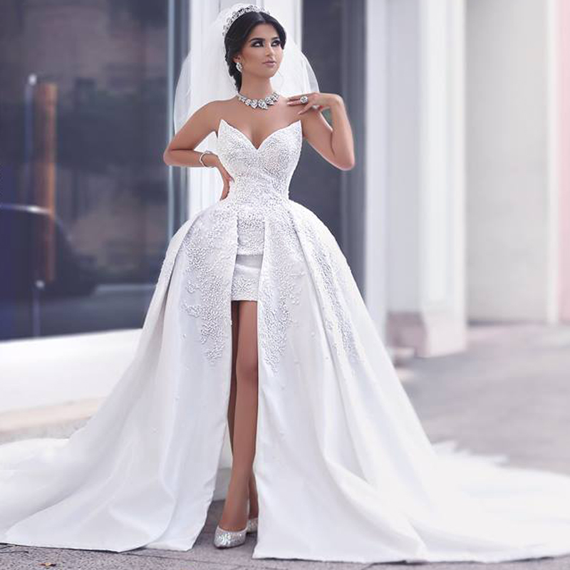 9ae19e91b4a Fashionable 2017 High Low Short Lace Wedding Dress Sexy V Neck Beading  Detachable Train Wedding Gowns