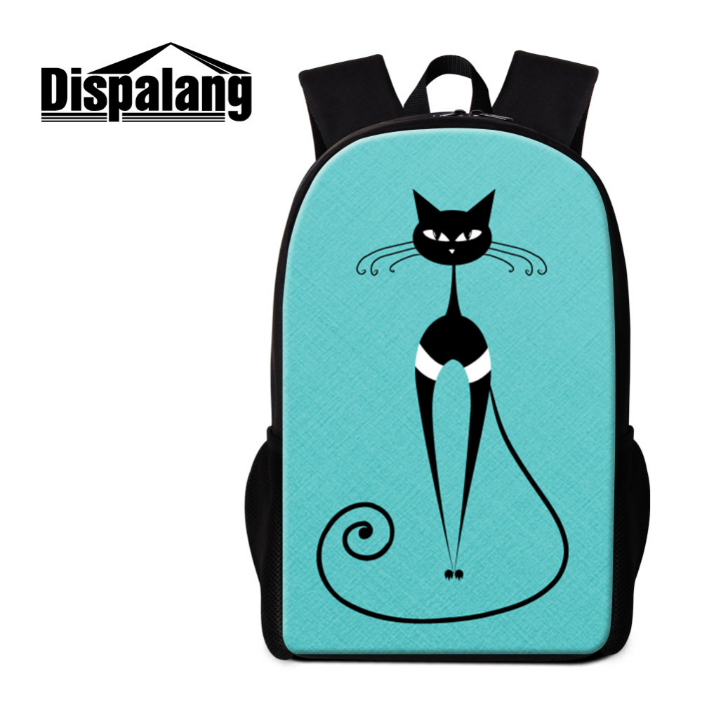 Dispalang Cute Abstract Cat Backpack For Teenagers Pencil Bags Children School Bag Large ...