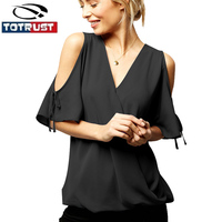 Short Sleeve Women Chiffon Blouse Plus Size Tops S 6XL 2017 Summer Ladies Casual V Neck