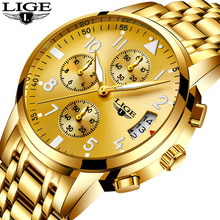 купить LIGE Watch Men Fashion Sports Quartz Clock Gold Watches Top Brand Luxury Full Steel Business Waterproof Watch Relogio Masculino по цене 1367.1 рублей
