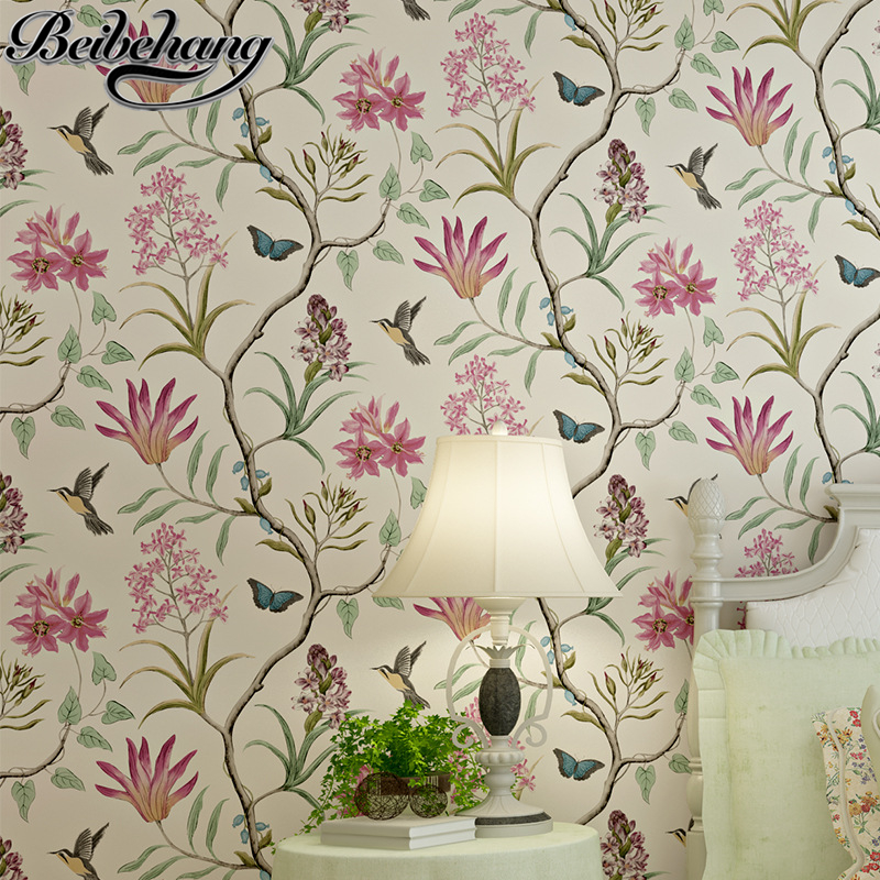 beibehang wallpaper American rural fresh and garden birds flowers wallpaper for walls papel de parede Home decoration wallpaper the hermitage birds and flowers